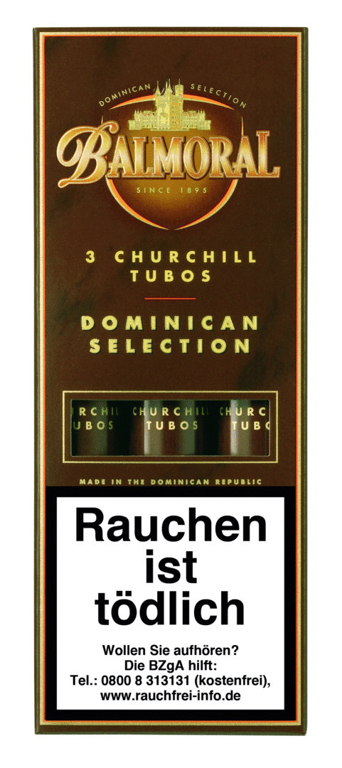 Balmoral Dominican Selection Churchill Tubos, 3 Stück